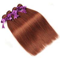 ingrosso colore 33 tessuto dei capelli umani-33 # fasci di capelli peruviani di colore diritto tessuto intrecciato 12-26 pollici estensione dei capelli trama possono essere Restyle 3 o 4 pacchi