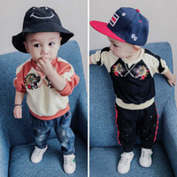 Wholesale Embroidered Hoodie Kids - Spring Autumn New arrived Infant Clothing tiger embroider Boys Tops baby long sleeve Sweater kids Hoodie Children Hoody Boys T Shirts A1125