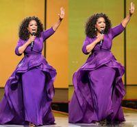 vintage tarzı kılıf elbisesi toptan satış-Oprah Winfrey Abiye Kılıf Ünlü Törenlerinde Orta Doğu Dubai Arapça Stil Mor Akşam Parti Elbise Resmi Artı Boyutu Kadınlar Giymek