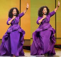 vestido de encaje lavanda alfombra roja al por mayor-Vestidos de noche de Oprah Winfrey vestidos de fiesta de la envoltura Middle East Dubai estilo árabe fiesta de noche púrpura vestido Formal tallas grandes desgaste de las mujeres
