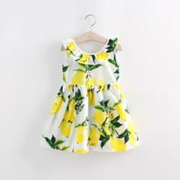 Wholesale Down Cartoon Vests - Girl Summer Lemon bowknot Sling lapel Dress Children Cartoon Print sleeveless vest Lemon leaf princess dresses Sweetgirl B001