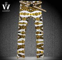 Wholesale Plus Size Thin Pants - Wholesale-Jeans mens painting prints belt the new influx of people hairdressers nightclub flower pants thin stretch pants,28-40