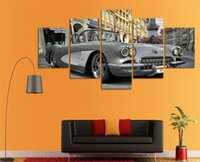 Wholesale modern classic oil abstract resale online - 5 Panels Retro classic car Modern Abstract Canvas Oil Painting Print Wall Art Decor for Living Room Home Decoration Framed Unframemcla