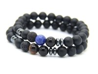 Wholesale vein agate beads - 2016 New Design Mens Bracelets Wholesale 8mm Matte Agate Stone Beads Tiger Eye and Blue Veins Lucky Bracelets