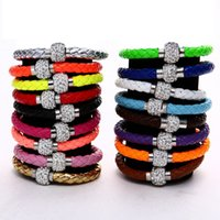 Wholesale Ball Fluorescent Bracelet - hot new 15 colors 21cm 8mm Fluorescent Neon Color PU Leather Women Fashion Bracelet with Crystal Shamballa Ball Disco Magnetic Clasp