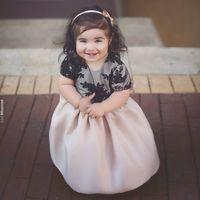 Wholesale Cute Simple Dresses - Cute 2017 Simple Lace Flower Girl Dresses For Wedding Jewel Neck Floor Length Formal Wedding Dress Short Sleeve First Communion Dresses