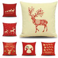 Wholesale Animal Cushion Covers - Christmas Reindeer Pillow Case Merry Christmas Reindeer Snowfla Cartoon Animals Pillow Case Festival Gift Christmas Gift 45*45 Cushion Cover