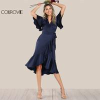 online Shopping Midi Satin Dress - COLROVIE Elegant Ruffle Navy Satin Dress Women Wrap Tie Waist Sexy Midi Party Dresses Fall 2017 Fashion New V Neck A Line Dress q1113
