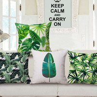 Wholesale Banana Cushion - Tropical Beach Cushion Cover Rainforest Palm Banana Leaf Pattern Home Pillowcase