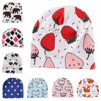 Wholesale Children Strawberry Cap - Free shipping Brand Baby Hat Cotton Print Beanie Fruit Strawberry boy Girls infants Hats Autumn Winter warm Caps Children Accessories SEN045