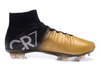Wholesale Soccer Cleats Ronaldo Carbon Fiber - 2015 New Arrival Super Light Cristiano Ronaldo CR7 High Cut Soccer Football Boots Shoes Cleats Carbon Fiber Bottom Blackout ankle shoes