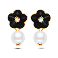 Wholesale Earring Girls Allergy - Japanese and South Korea 2016 new mori girl enamel flower pearl studs earrings real gold plated allergy free earrings women fashion jewelry