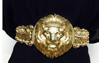 Wholesale Lion Buckle - Luxury Brand Belt Women Lady Meatal Elastic Fashion Accessory Waist Belt Wide Belts Stretch Waistband Cinch Gold Lion Model Women Belts