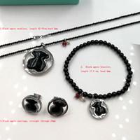 Wholesale Agate Pendant Bead Set - Joyas de acero inoxidable Stainless Steel black agate beads pendants Necklace earring bracelet set Jewelry gift for women