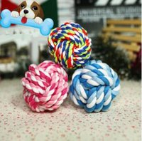 Wholesale Squeak Ball - 7cm Pet Puppy Chew Toys Pets Rope Bite Ball Toy Colorful Squeak Toy for Small Dog Cat Chews Toys CCA8222 100pcs