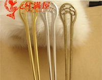 Wholesale Antique Silver Forks - A3634 170*32.5MM double fork Bob bookmark gold hair jewelry DIY hair accessories, antique silver plated hairpin, vintage hair sticks