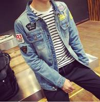 projeto remendo dos homens venda por atacado-Atacado- 2016 hot Primavera Mens Jaquetas Marca New Slim Fit Vintage Denim Patch Designs Jeans Jacket Men Coats Plus Size Jaqueta Masculina