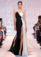Wholesale Long Black Thin Prom Dress - Split Evening Dresses 2016 Black And White Stage Catwalk Moderator Sexy Thin Long Lady Party Dress