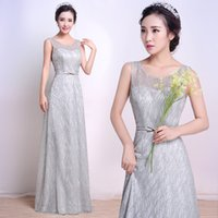 Wholesale Maid Wear Club Sexy - Vintage Champagne 2017 Sheer Neck Maid Of Honor Dresses Bridesmaid Gowns A Line Floor Length Scoop With Sequins Long Evening Formal Prom