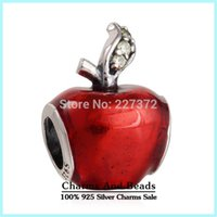 Wholesale Slide Charms Apple - crown Silver Disne y Snow White Apple charm 925 ale sterling silver charms loose beads diy jewelry for thread bracelet DF521