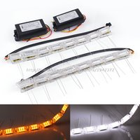 Wholesale Led Sequential Turn Signal - Headlight Sequential Flasher Color DRL Turn Signal 2PCS Flexible White Amber Switchback LED Knight Rider Strip Light Car Styling