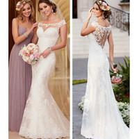 Wholesale Design Back Wedding Dress - Elegant Lace White Wedding Dresses Appliques Unique Back Design Sheath Bridal Gowns With Formal Gardan Wedding Wear