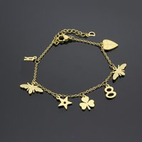 Wholesale Bee Link - Top quality 316L stainless steel with bee and 8 word and heart star shape for women Bracelet in 19cm length jewelry gifts PS5242A