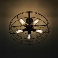 ampoules américaines achat en gros de-Vintage Rétro Industriel Ventilateur Plafonniers American Country Cuisine Loft Lampe Fer Matériel Installer 5 pcs E27 Edison Ampoules