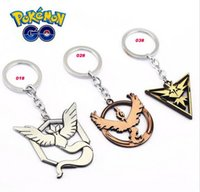Wholesale Keychains Children Wholesale - Poke go Team Valor Instinct Mystic Metal Keychain toys Children Zinic Alloy Poke Ball Pikachu keyring
