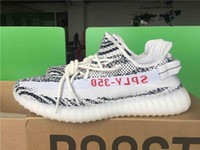 Wholesale Zebra High Boots - High Quality Original Box Kanye West Boost 350 V2 Running Shoes for Men SPLY-350 Zebra Bred Copper Sports Shoes Sport Sneakers Cheap