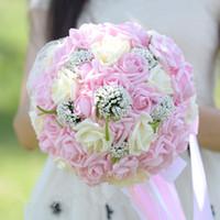 Wholesale High End Bridal Bouquets - Artificial Flowers 2017 Romantic Rose Flower Bridal Bouquet Pink Lace Artificial Wedding Bouquets High-end Artificial Wedding Decorations