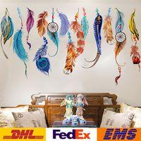 paredes de diseño de la vid al por mayor-Pegatinas de pared Creativo Hogar Dormitorio Decorativo Sofá Fondo Pared Dormitorio Pegatinas de Pared 3d Extraíble PVC Plumas de Colores Pegatinas WX-S18