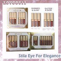Wholesale Elegant Lipsticks - The Eyes Elegant Flash Flashing Eye shadow Holiday Set Star-Studded Eight Stay Full Day Liquid Lipstick Makeup Set 660213-1