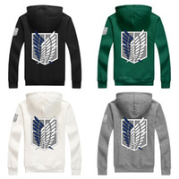 Wholesale Attack Titan Sweater - Wholesale-New fashion Attack on Titan Shingeki No Kyojin Scouting Legion Cosplay Hoodie Coat Lucky Hooded Sweater