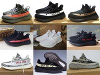 Wholesale Orange Color Art - 2017 SPLY-350 Boost V2 2016 New Kanye West Boost 350 V2 SPLY Running Shoes Grey Orange Stripes Zebra Bred Black Red white orange 14 Color