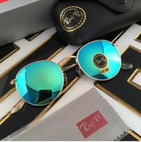 Wholesale Vintage Round Lens Sunglasses - Round Flash Mirror Lenses Sunglasses Retro Style Men Women Sunglasses Vintage Sun Glasses Metal Sunglasses UV400 Glass with rbriginal Box