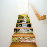 Wholesale Vinyl Stairs - 6pcs set 18cm x 100cm Alpine Falls Style Stairs Decoration 3D Sticker Art Pegatinas De Pared Home Decor Mural LT012