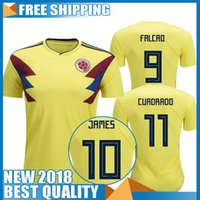 Soccer Men Short Thailand quality National COLOMBIA 2018 World Cup soccer  jersey JAMES RODRIGUEZ Jersey FALCAO e8bd3c1ee