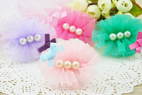 Wholesale New Hair Accessories Wholesale - New pet Dog hair clips Pearls Cute Lace bows mix colors Handmade dog hair accessories pet grooming products 10pcs