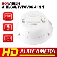 Wholesale Video Osd Camera - AHD HDTVI HDCVI CVBS Camera 4In1 2MP Mini Dome Indoor Video Security Smoke Detector Hidden AHD Camera 1080P 3.7mm Lens,UTC,OSD Menu,Audio in