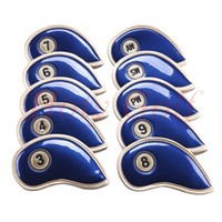 Wholesale Iron Headcovers - Casar Golf 10PCS 3#-Pw Slick Synthetic Leather Set Golf Iron Club Covers Headcovers