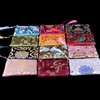 Wholesale Damask Satin - Traditional Chinese Long Women Coin Purse Cell Phone Wallet Tassel Damask Gift Bags Travel Zipper Cosmetic Makeup Packaging Pouch 10pcs lot