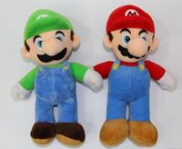 Wholesale Mario Luigi Dolls - Hot Super Mario Bros Stand LUIGI Mario Plush Soft Stuffed Doll Toy for kids best gift 10inch 25cm