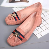 Wholesale Western Dress Shoes - Western Style Square Heel pumps Micro Suded Women Dress Shoes Women Luxury Quality Heels Square Toes Tassel Low Heel Shoes
