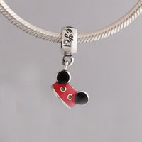 Wholesale Hats Ear Mouse - Authentic 925 Silver Beads Mickey And Minnie Mouse Mickey Ear Hat Charm Charms Fits European Pandora Style Jewelry Bracelets & Necklace