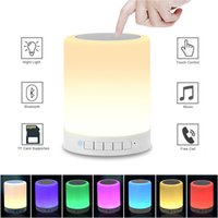 Wholesale Portable Speakers For Mp3 - XML Night Light Bluetooth Speakers Portable Wireless Music Speaker Smart Touch Control Color LED Bedside Table Lamp Speakerphone TF Card