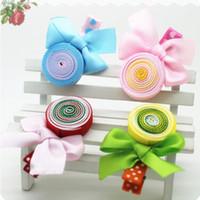 Wholesale Lollipop Ornament - Wholesale- New Girls Print Ribbon Lollipops Children Accessories Girls Bow Colorful Hair Accessories Hair Ornaments Baby Hair Clip