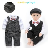 Wholesale Toddler Wedding Clothes Boys - 2017 spring newborn baby boy party suit infant boy romper toddler hats 2pcs sets autumn wedding show clothes boys bow suits