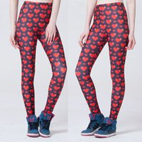 Wholesale Jeggings Pants Galaxy - Women Fashion Red Heart Galaxy Leggings Navy Diving Pants Printed Sky Space Stretchy Breathe Christmas Warm Jeggings Slim Tights