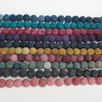 Wholesale Multi Color Bead Bracelet - Multi Color Lava Beads 8mm Natural Stone Volcanic Rock Round Loose Beads DIY Jewelry Bracelet Making Volcano Stone Bead